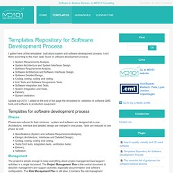 Templates Repository for Software Development Process - Software in Medical Devices, by MD101 Consulting