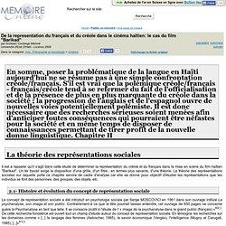 """De la representation du français et du créole dans le cinéma haïtien: le cas du film """"Barikad"""" - Schwarz Coulange Méroné"""