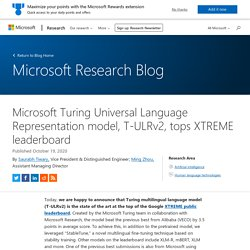 Turing Universal Language Representation model, T-ULRv2, tops XTREME leaderboard
