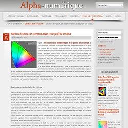 Notions d'espace, de représentation et de profil de couleur