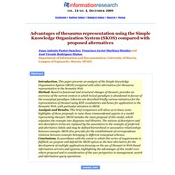 Advantages of thesauri representation with the Simple Knowledge Organization System (SKOS) compared with other proposed alternatives for the design of a Web-based thesauri management system