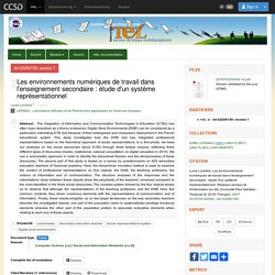 Les environnements numériques de travail dans l'enseignement secondaire : étude d'un système représentationnel