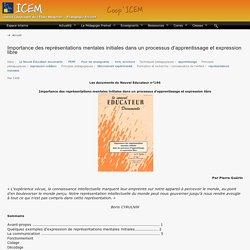 Importance des représentations mentales initiales dans un processus d'apprentissage et expression libre