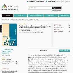 Représentations de l'enseignement/ apprentissage de la grammaire en didactique des langues