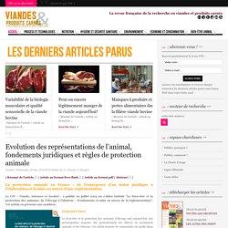 VIANDES ET PRODUITS CARNES 25/05/16 Evolution des représentations de l'animal, fondements juridiques et règles de protection animale