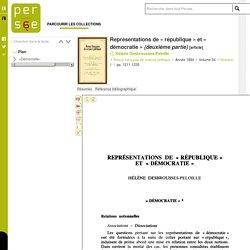 Représentations de « république » et « démocratie » (deuxième partie)