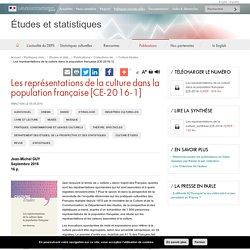 Les représentations de la culture dans la population française [CE-2016-1] - Études et statistiques
