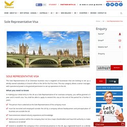 Sole Representative Visa Guidance, Rules