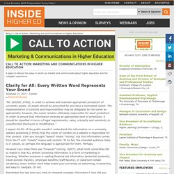 Call to Action: Marketing and Communications in Higher Education