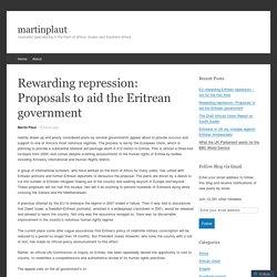 Rewarding repression: Proposals to aid the Eritrean government