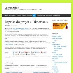 Reprise du projet «Historiae»