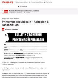 Printemps républicain - Adhésion à l'association