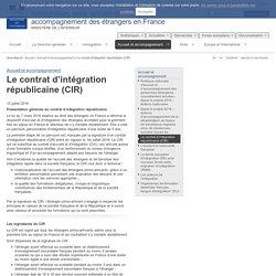 Le contrat d'intégration républicaine (CIR) / Accueil et accompagnement
