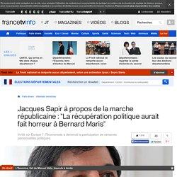 """Jacques Sapir à propos de la marche républicaine : """"La récupération politique aurait fait horreur à Bernard Maris"""""""