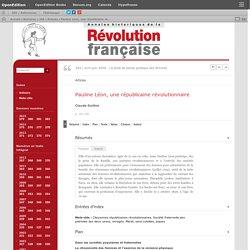 Pauline Léon, une républicaine révolutionnaire