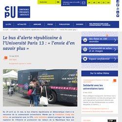 Le bus d'alerte républicaine à l'Université Paris 13 : « l'envie d'en savoir plus »