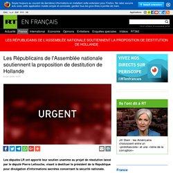 Les Républicains de l'Assemblée nationale soutiennent la proposition de destitution de Hollande