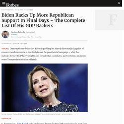 11/3/20: Biden Racks Up More GOP Support In Final Days – the Complete List