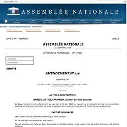 RÉPUBLIQUE NUMÉRIQUE(no 3399) - Amendement no 518