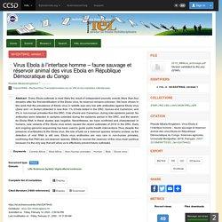 UNIVERSITE DE MONTPELLIER 01/10/19 Thèse en ligne : Virus Ebola à l'interface homme – faune sauvage et réservoir animal des virus Ebola en République Démocratique du Congo