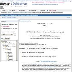 LOI n° 2016-1321 du 7 octobre 2016 pour une République numérique