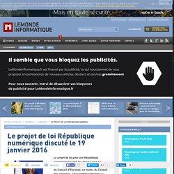 Le projet de loi République numérique discuté le 19 janvier 2016