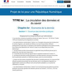République Numérique - Projet de loi pour une République Numérique