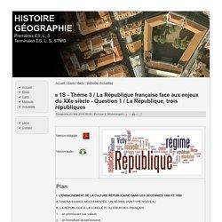 1S - Thème 3 / La République française face aux enjeux du XXe siècle - Question 1 / La République, trois républiques