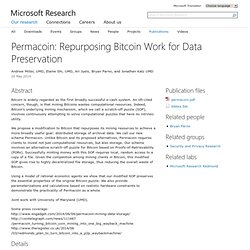 Permacoin: Repurposing Bitcoin Work for Data Preservation