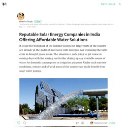 Reputable Solar Energy Companies in India Offering Affordable Water Solutions