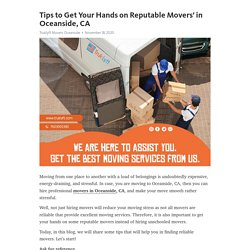 Tips to Get Your Hands on Reputable Movers' in Oceanside, CA