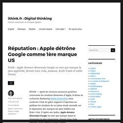 Réputation : Apple détrône Google comme 1ère marque US