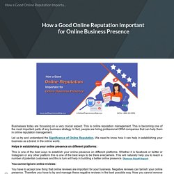 How a Good Online Reputation Important for Online Business Presence