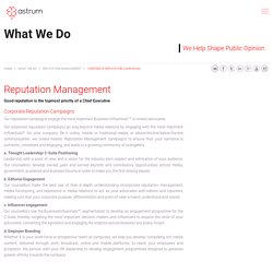 Corporate Reputation Management Services by Astrum