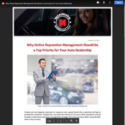 Why Online Reputation Management Should be a Top Priority for Your Auto Dealership