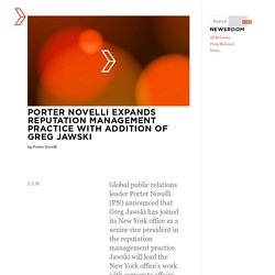 Porter Novelli Expands Reputation Management Practice with Addition of Greg Jawski