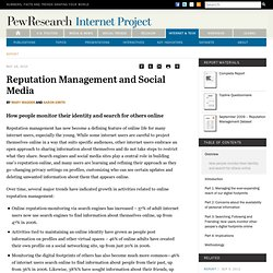 Reputation Management and Social Media