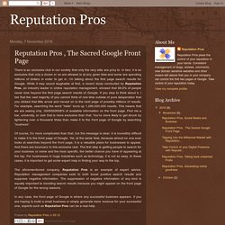Reputation Pros , The Sacred Google Front Page