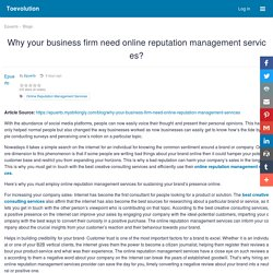 Why your business firm need online reputation management services? : Toevolution