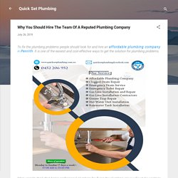 Why You Should Hire The Team Of A Reputed Plumbing Company