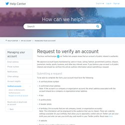 Request to verify an account