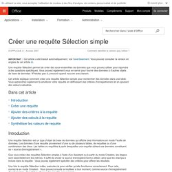 Créer une requête Sélection simple - Access