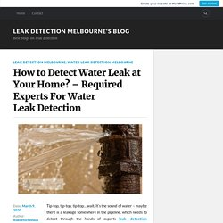 How to Detect Water Leak at Your Home? – Required Experts For Water Leak Detection – Leak detection Melbourne's Blog