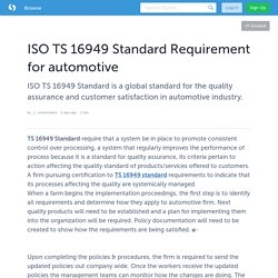 ISO TS 16949 Standard Requirement for automotive