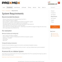 System requirements Proxmox VE