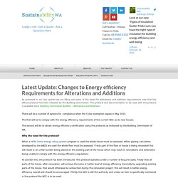 Latest Update: Changes to Energy efficiency Requirements for Alterations and Additions