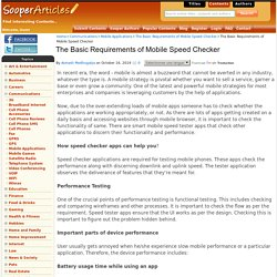 The Basic Requirements of Mobile Speed Checker - Mobile Applications