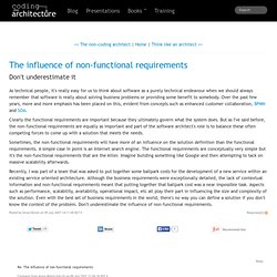The influence of non-functional requirements