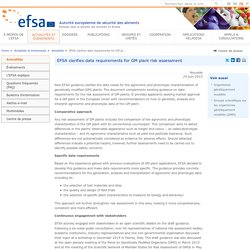 EFSA 24/06/15 EFSA clarifies data requirements for GM plant risk assessment