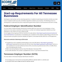 Start-up Requirements For All Tennessee Businesses -